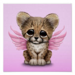 Cute Cheetah Cub with Fairy Wings on Pink Poster