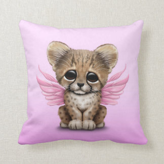 Cute Cheetah Cub with Fairy Wings on Pink Throw Pillow
