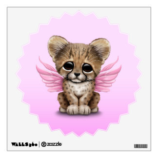 Cute Cheetah Cub with Fairy Wings on Pink Wall Decal