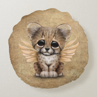 Cute Cheetah Cub with Fairy Wings Round Pillow