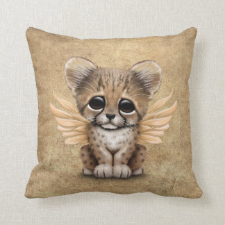 Cute Cheetah Cub with Fairy Wings Throw Pillow