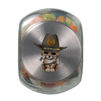 Cute Cheetah Cub Zombie Hunter Jelly Belly Candy Jars