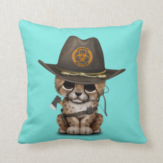 Cute Cheetah Cub Zombie Hunter Throw Pillow