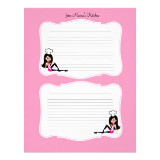 Cute Chef Art Recipe Pages for Binders #2 Letterhead