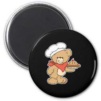 Cute Chef Baker Bear 2 Inch Round Magnet