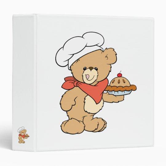 Cute Chef Baker Bear 3 Ring Binder