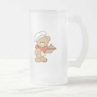 Cute Chef Baker Bear Frosted Glass Beer Mug
