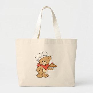 Cute Chef Baker Bear Large Tote Bag