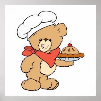 Cute Chef Baker Bear Poster