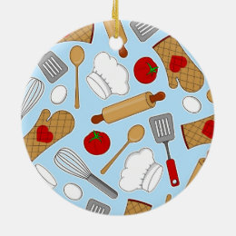 Cute Chef / Cook Love Pattern Blue Ceramic Ornament