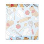 Cute Chef / Cook Love Pattern Blue Memo Pad