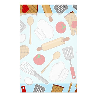 Cute Chef / Cook Love Pattern Blue Stationery
