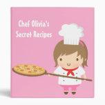 Cute Chef Girl and Pizza Secret Recipe Binder
