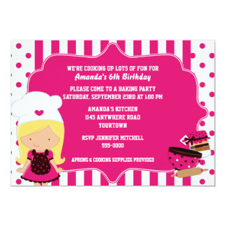 Cute Chef Girl's Baking Birthday Party Card