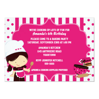 Cute Chef Girl's Cooking Birthday Party 5x7 Paper Invitation Card