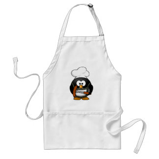 Cute Chef Penguin Cooking A Sausage Adult Apron
