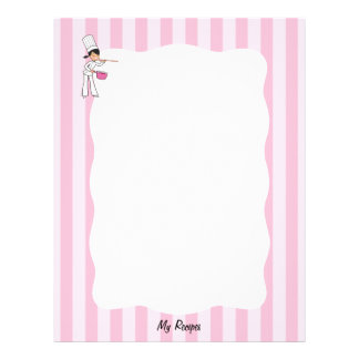 Cute Chef Recipe Pages for Binder Letterhead