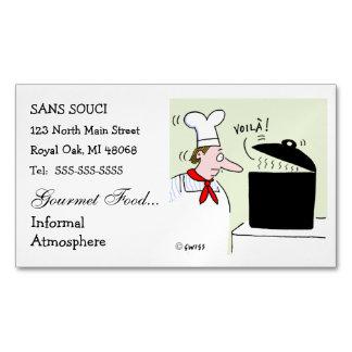 Cute Chef Theme Humorous Restaurant Business Card Magnet