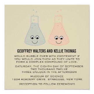 """Cute Chemistry Wedding Invite 5.25"""" Square Invitation Card"""