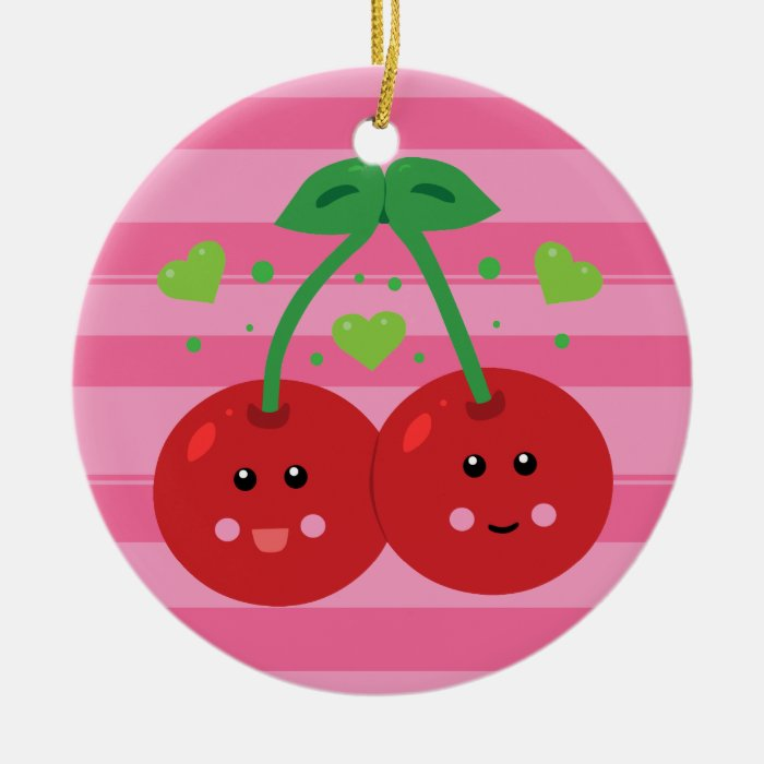 Cute Cherries Ceramic Ornament