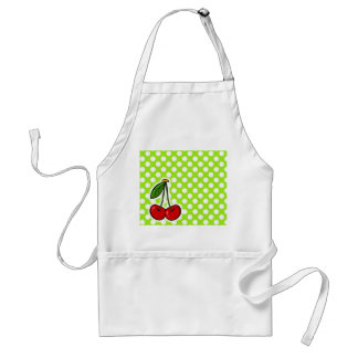Cute Cherries on Green-Yellow Polka Dots Apron