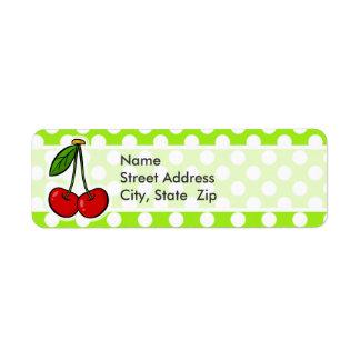 Cute Cherries on Green-Yellow Polka Dots Return Address Label