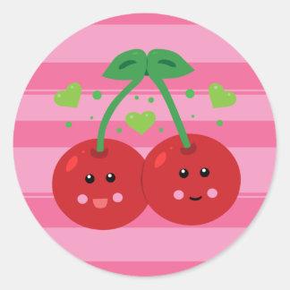 Cute Cherries Round Sticker