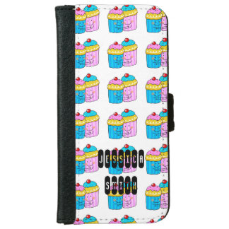 cute cherry cupcakes best friends - personalized iPhone 6/6s wallet case