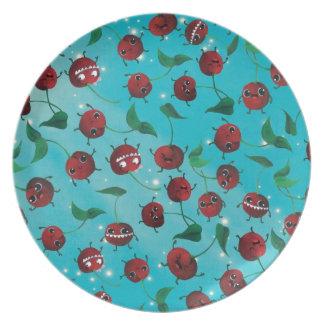 Cute Cherry Pattern Plates