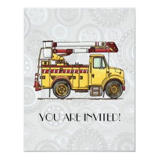 Cute Cherry Picker Truck 4.25x5.5 Paper Invitation Card