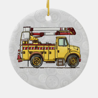 Cute Cherry Picker Truck Double-Sided Ceramic Round Christmas Ornament