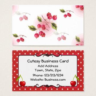 Cute Cherry Themed Business Card