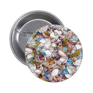 Cute Cherub in Garden Stained Glass Button