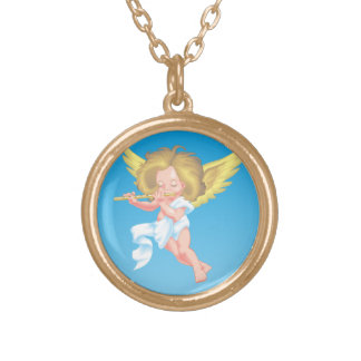 Cute Cherub on Flute Gold Plated Necklace
