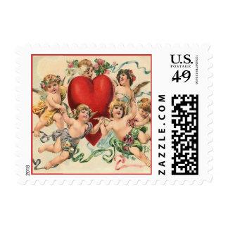 Cute Cherubs with a Red Heart Valentine Stamp