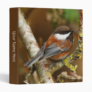 Cute Chestnut-Backed Chickadee on the Pear Tree 3 Ring Binder