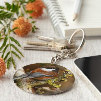 Cute Chestnut-Backed Chickadee on the Pear Tree Keychain