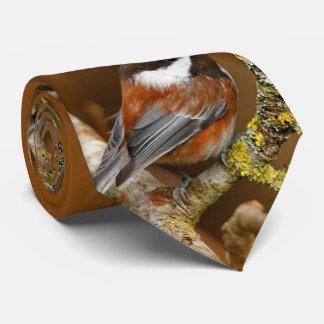 Cute Chestnut-Backed Chickadee on the Pear Tree Tie