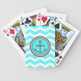 Cute Chevron Anchor Smile Bicycle Playing Cards