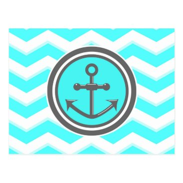 Beach Themed Cute Chevron Anchor Smile Postcard