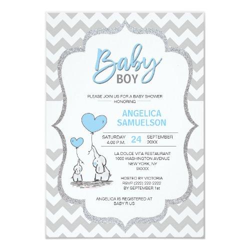 Cute Chevron Blue Grey Elephant Baby Shower BOY Invitation