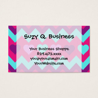 Cute Chevron Hearts Pink Teal Teen Girl Gifts Business Card