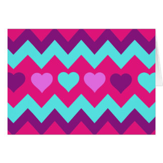 Cute Chevron Hearts Pink Teal Teen Girl Gifts Card
