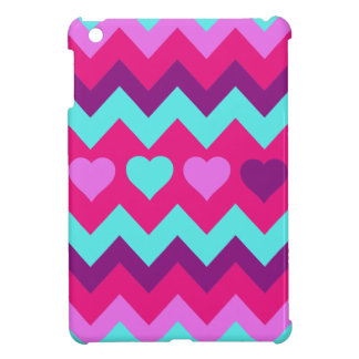 Cute Chevron Hearts Pink Teal Teen Girl Gifts iPad Mini Covers