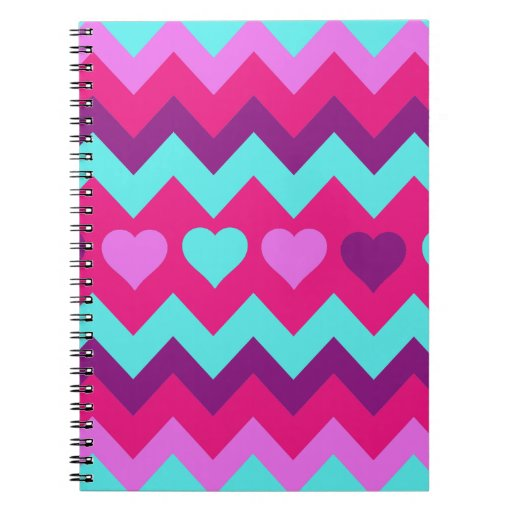 Cute Chevron Hearts Pink Teal Teen Girl Gifts Note Books