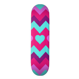 Cute Chevron Hearts Pink Teal Teen Girl Gifts Skateboard Deck