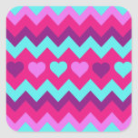 Cute Chevron Hearts Pink Teal Teen Girl Gifts Square Sticker