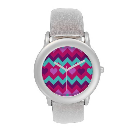 chevron hearts pink teal gifts wrist