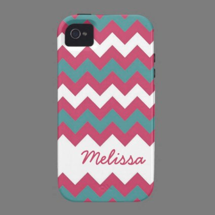 Cute Chevron Pink and Teal Personalized iPhone 4/4S Covers