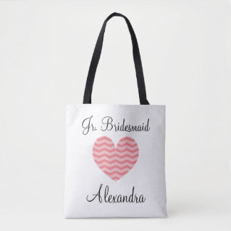 Cute chevron stripe coral pink heart jr bridesmaid tote bag